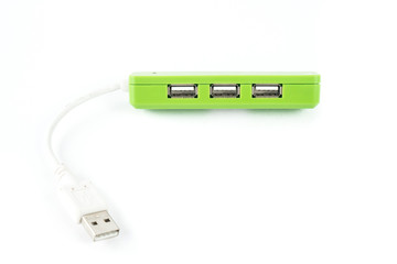 Usb hub on white isolated