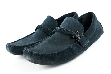 blue suede men shoes  on white isolated