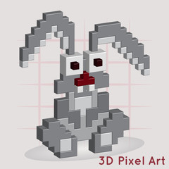 Cartoon Bunny. 3D Pixel Art.