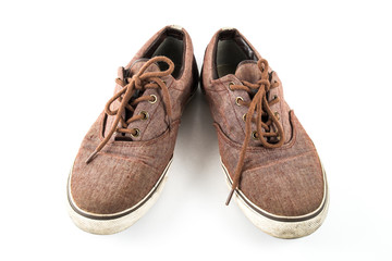 brown slip-on casual shoes on white isolated