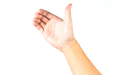 hand holds  virtual smart phone on white isolated background