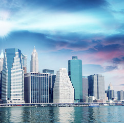 New York City. Manhattan skyline and buildings from Hudson river