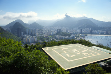 Sugarloaf Mountain Helipad and Guanabara Bay Rio