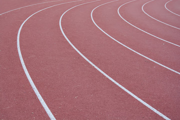 Curve on running track with rubber cover
