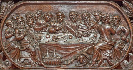 Bruges - carved relief of the Last supper in Karmelietenkerk