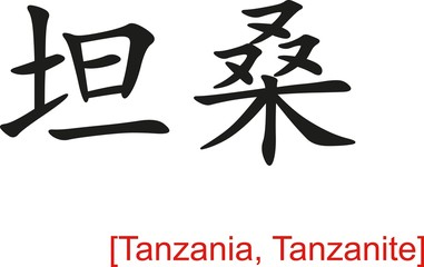 Chinese Sign for Tanzania, Tanzanite