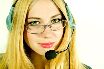 Beautiful young woman in a headset.