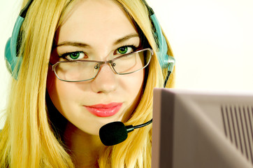 Girl in headset.