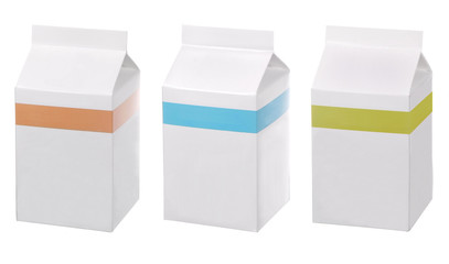 set of blank packs of drinks