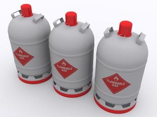 Aufgereihte Gasflaschen
