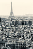 Aerial View of Paris with Eiffel Tower. Black and White