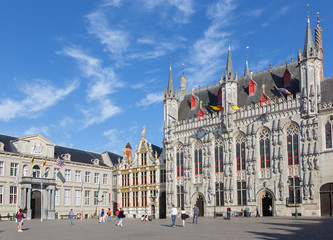 Bruges - Burg square and facade of gothic town hall.