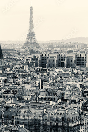 Fototapeta Aerial View of Paris with Eiffel Tower. Black and White