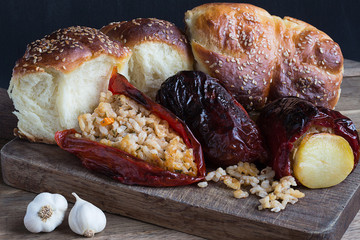 Roasted Rice-Stuffed Red Peppers and Homemade Bread with Sesame