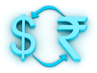 Concept of currency converting, 3d sign of dollar & rupees