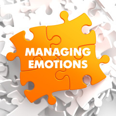 Managing Emotions on Yellow Puzzle.
