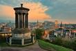 View over the historic center of Edinburgh Scotland at sunset