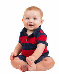 Portrait of happy smiling baby boy isolated on white