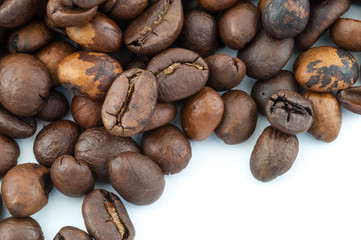 macro of raw coffee