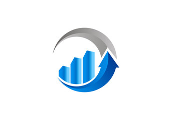 finance growth arrow logo vector