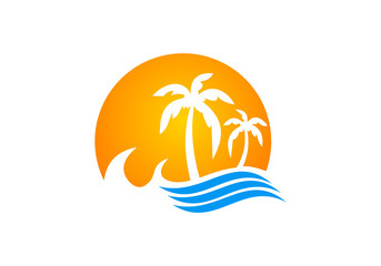 palm tree beach icon vector logo