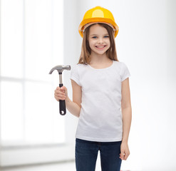 smiling little girl in protective helmet