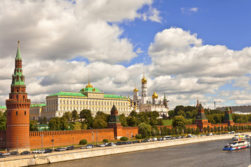 Historic buildings of the Kremlin, view from the river.