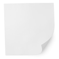Square blank sheet of paper isolated on white with clipping path