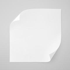 Square blank sheet of white paper on gray with clipping path