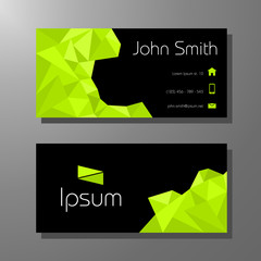 Business card template - green and black polygon pattern