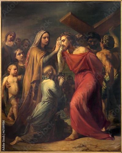 Fototapeta Brussels - Veronica wipes the face of Jesus