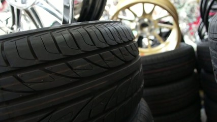 Tire stack in garage