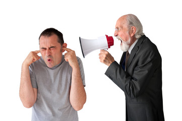 man being yelled at by senior manager