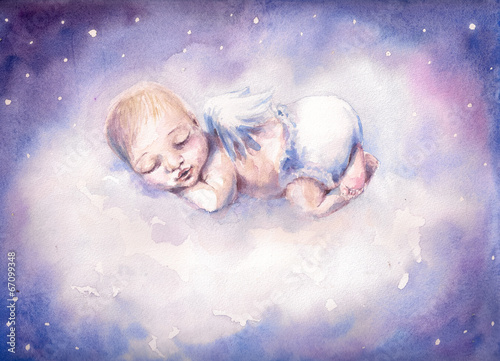 Fototapeta Sleeping angel.Watercolors