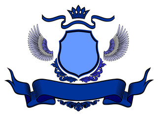 stemma nobiliare blu su sfondo bianco