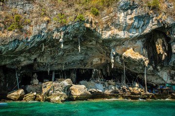 Viking cave where bird's nests are collected. Phi-Phi Leh island
