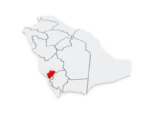 Map of Al-Baha. Saudi Arabia.
