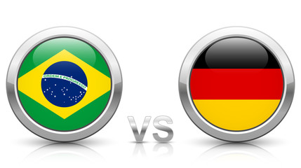 Brazil vs. Germany - icons buttons with national flags