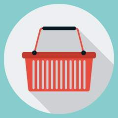 Shopping basket flat vector illustration