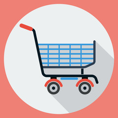 Shopping cart flat vector illustration