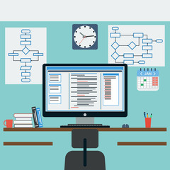 Programmer workplace flat vector illustration