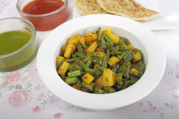 Indian vegetable dish, green beans and potatoes