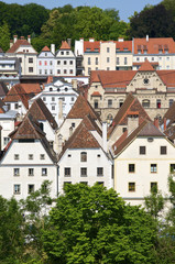 Baroque roofs and houses in the small city Steyr in Austria