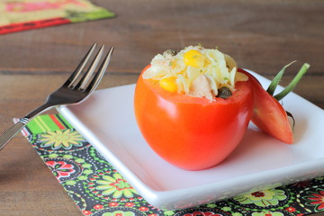 Pasta salad stuffed tomatoes