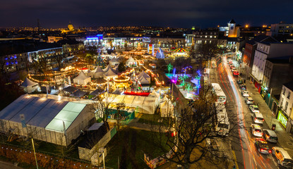 Christmas Market at night, panoramic view