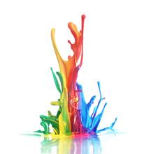 "Постер, картина, фотообои ""Colorful paint splashing"""