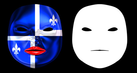 Quebec Flag Harlequin Mask