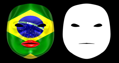 Brazil Flag Harlequin Mask