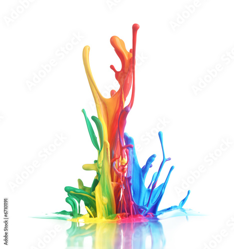 Poster Vormen Colorful paint splashing