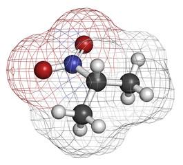 Nitropropane (2-nitropropane, 2-NP) chemical solvent molecule.